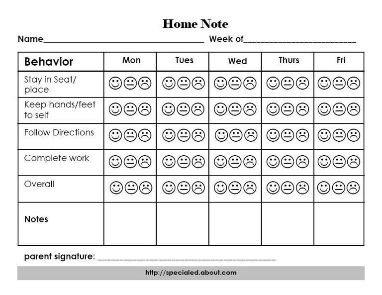 A Home Note Program to Support Positive Student Behavior and - attendance sheet for students