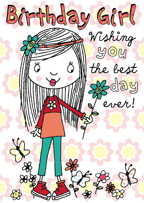 Girl Flowers Birthday Illustration Happy birthday