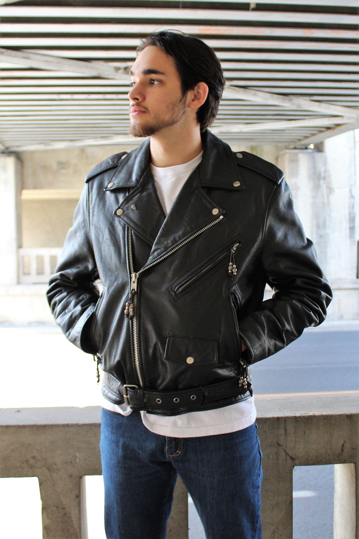 645e9032c6ae Vintage leather motorcycle jacket: Biker Jacket   FMC Size 42 Mens black  leather jacket Insulated