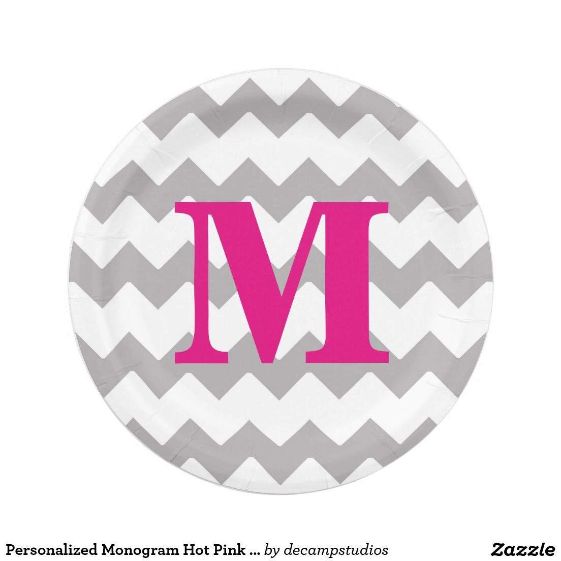 Personalized Monogram Hot Pink Grey Gray Chevron Paper Plate  sc 1 st  Pinterest & Personalized Monogram Hot Pink Grey Gray Chevron Paper Plate | Grey ...