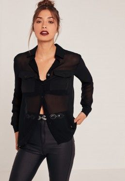 Black Tall Exclusive Pocket Front Blouse