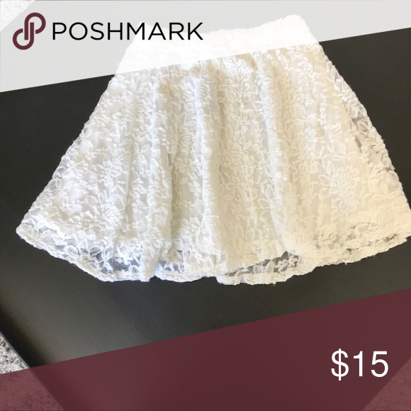 59822af65 White Lace Abercrombie & Fitch Skirt Skater skirt with white lace stretchy  fabric. Super cute for spring and summer. In good used condition.