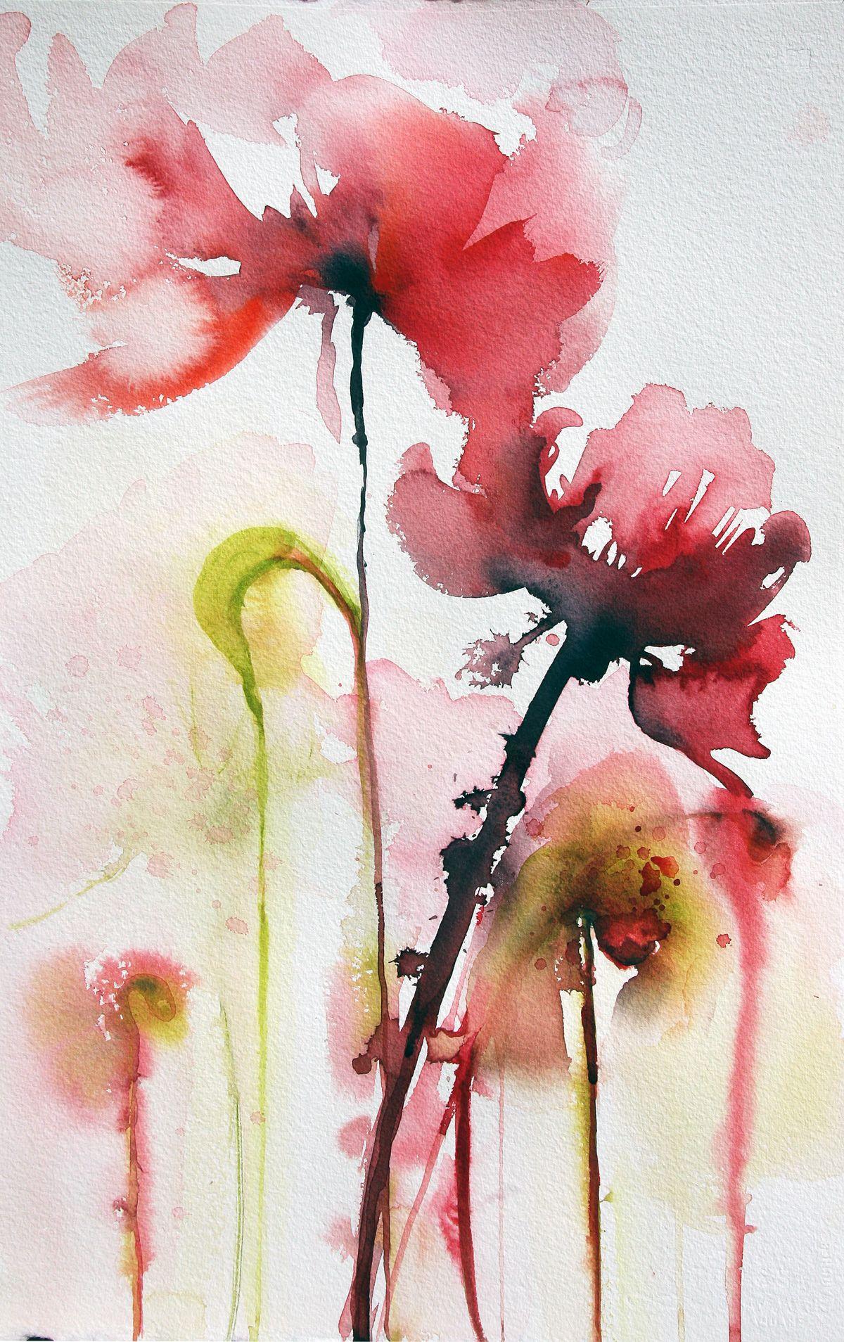 Fleur exotic virginie schroeder aquarelles peintures sur - Peinture fleur moderne ...