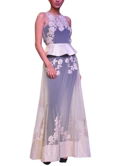 Check out this stunning white sheer gown with jumpsuit by designer Sougat Paul available at strandofsilk.com #sensuous #white #sheer #gown #jumpsuit #sougatpaul