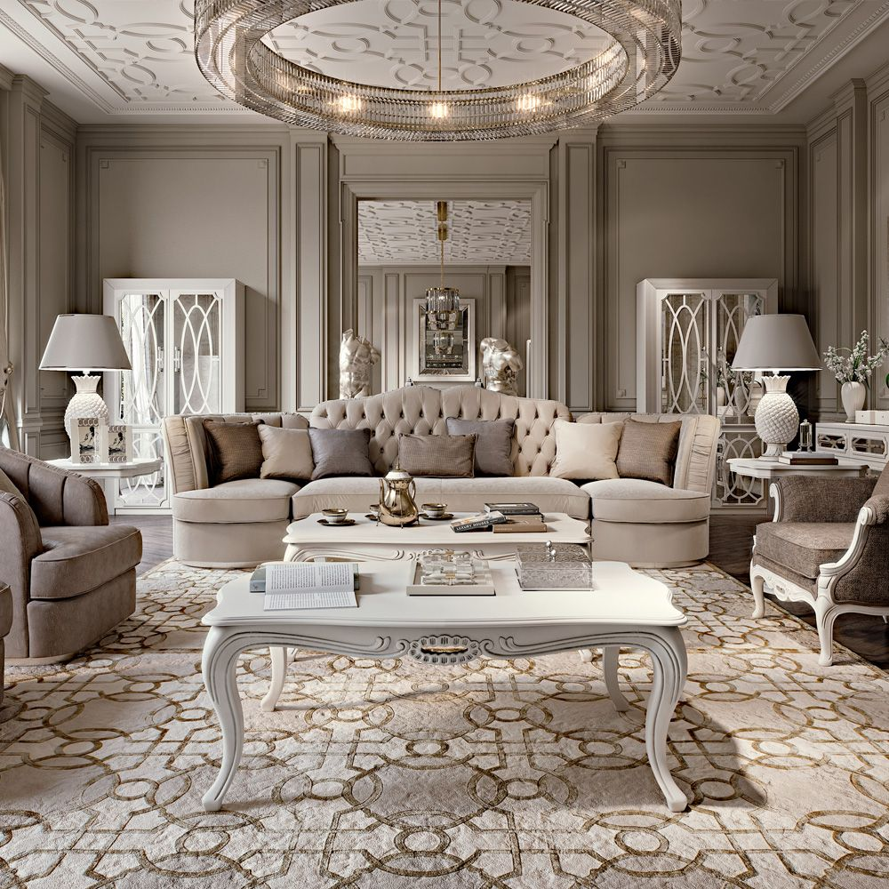 Large Living Room Designs: Large Designer Art Deco Style Button Upholstered Sofa