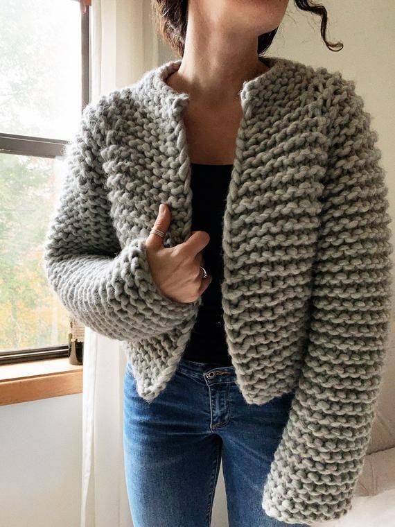 Beginner Friendly Top Down Knitting Pattern Cropped Sweater Pattern The Harper W...