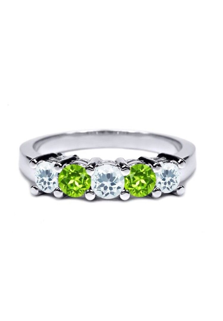 Aquamarine And Peridot Ring Perfect For A Wedding Band Peridot Ring Family Rings Aquamarine Rings