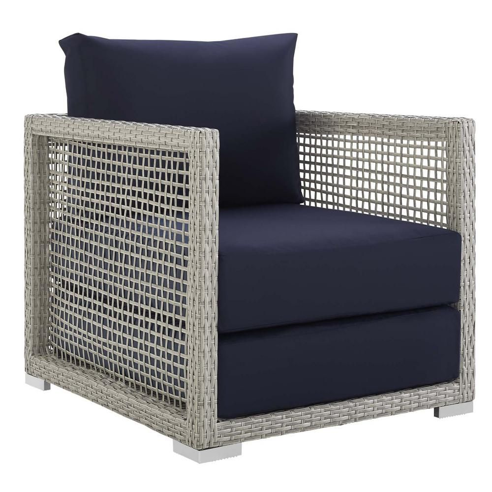 Modway Aura Gray Wicker Outdoor Lounge Chair With Navy Cushions