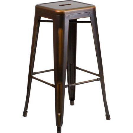 Flash Furniture 4pk 30'' High Backless Distressed Copper Metal Indoor Barstool, Brown