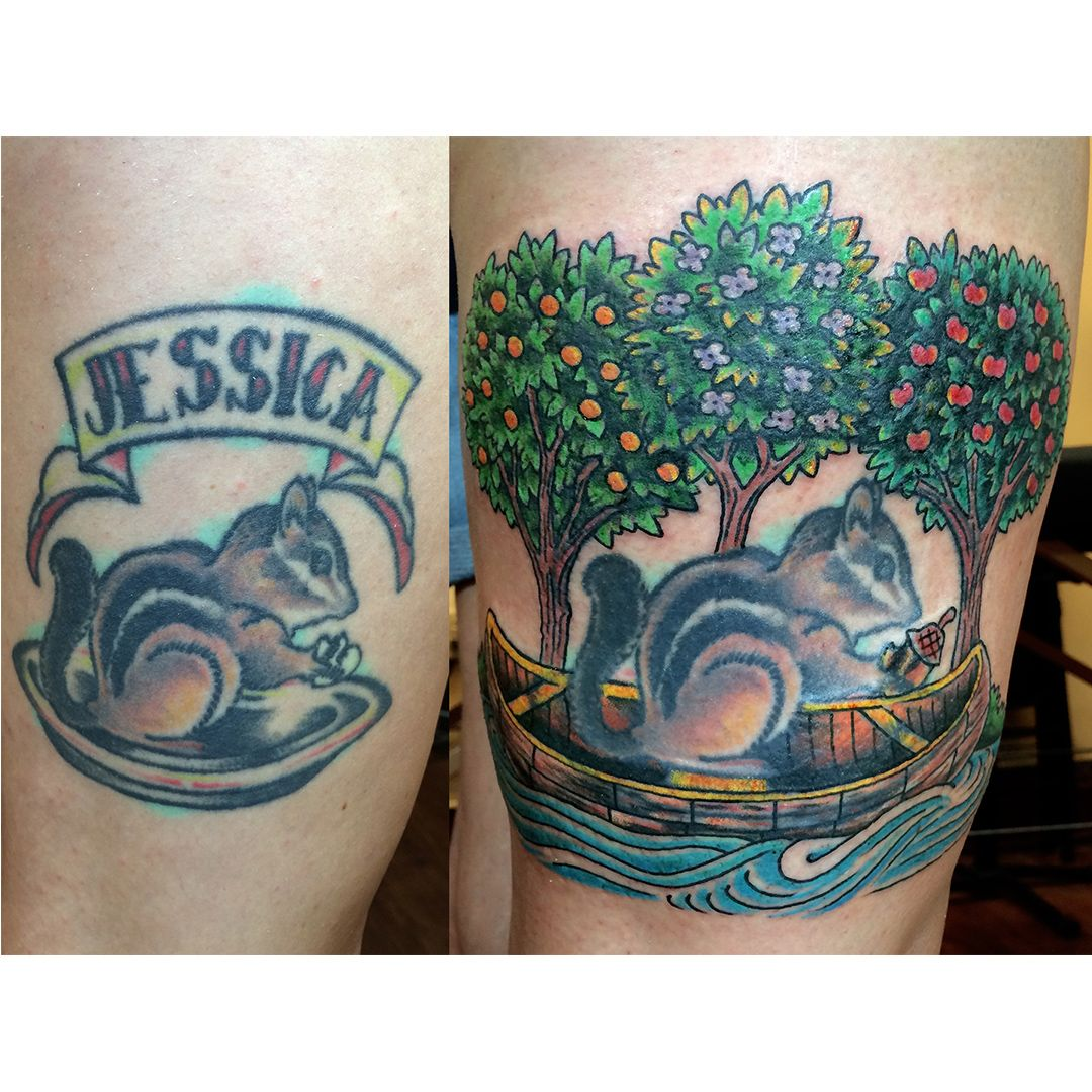 Austin Watercolor Tattoo: Before And After Cover Up/rework By Jon Reed At All Saints