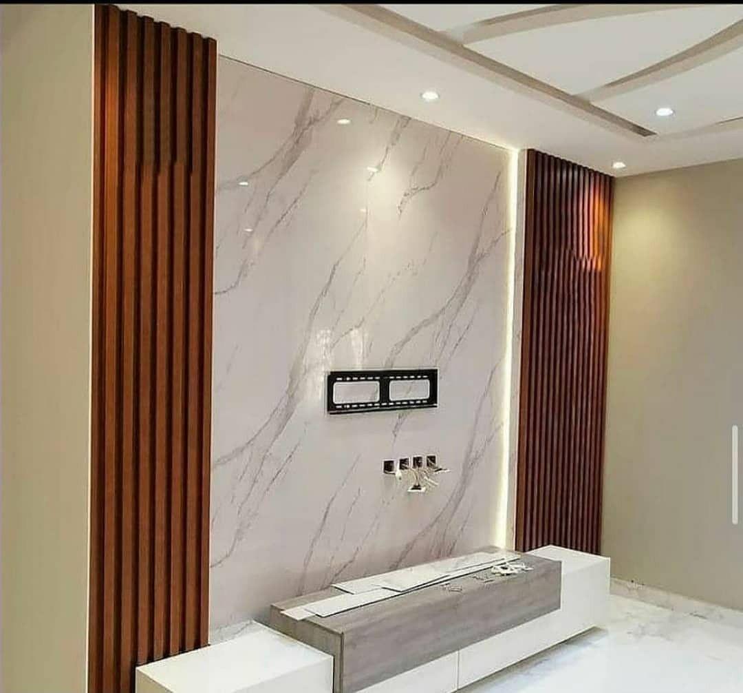 ديكور حائط تلفزيون حائط تلفزيون بديل الرخام حائط تلفاز خشب لتواصل الرياض 0535711713 Wall