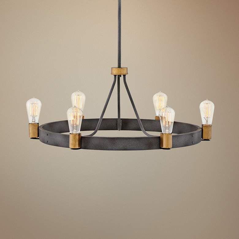 Hinkley Silas 28 3 4 Wide Aged Zinc 6 Light Chandelier 70x02 Lamps Plus Chandelier Lighting Low Ceiling Chandelier Bar Ceilings