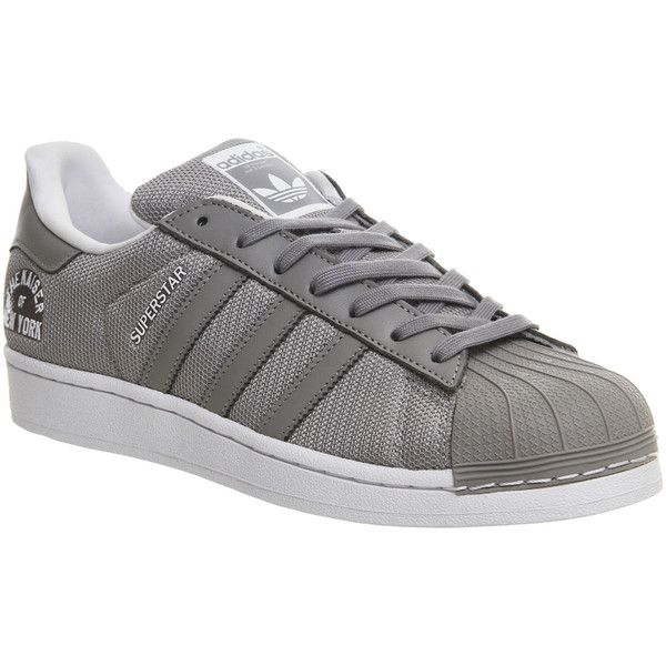 Adidas Superstar 1 ($105) ❤ liked on Polyvore featuring shoes, trainers, unisex sports, adidas shoes, gray shoes, sporting shoes, real leather shoes e grey leather shoes