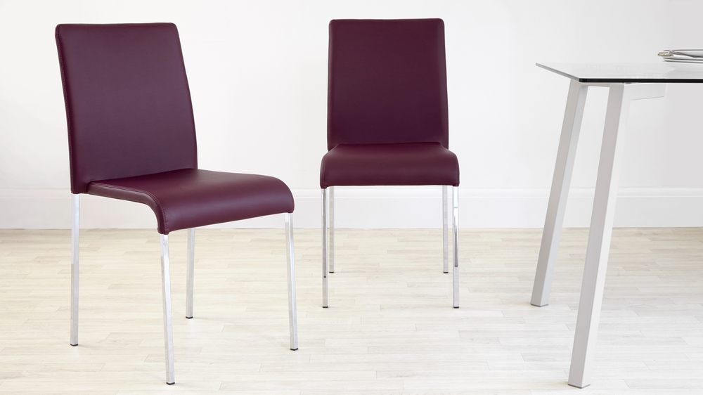 Faux Leather Dining Chair Modern Uk Purple Chairs