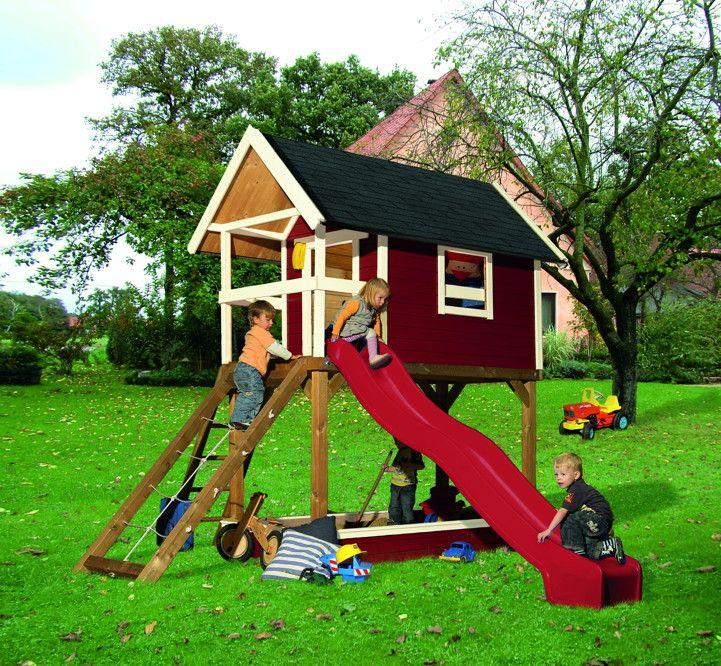 kinder-spielhaus-set 2 karibu gernegro  stelzenhaus holz rutsche,