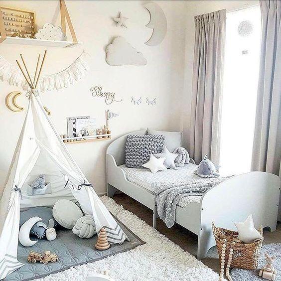 Superbe Chambre D Enfant En Blanc Et Gris Deco Chambre Bebe Deco Chambre Deco Chambre Enfant