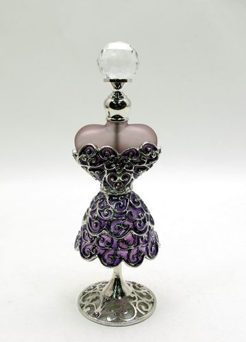 Perfume Bottle Antique Brass Enamel Dress Amethyst Crystals =