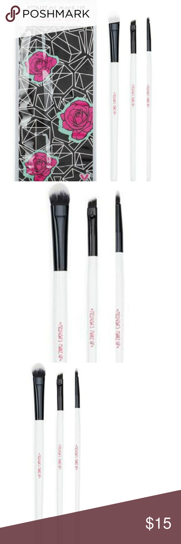 Medusa's Makeup 3 piece Vegan brush set NWT Medusas