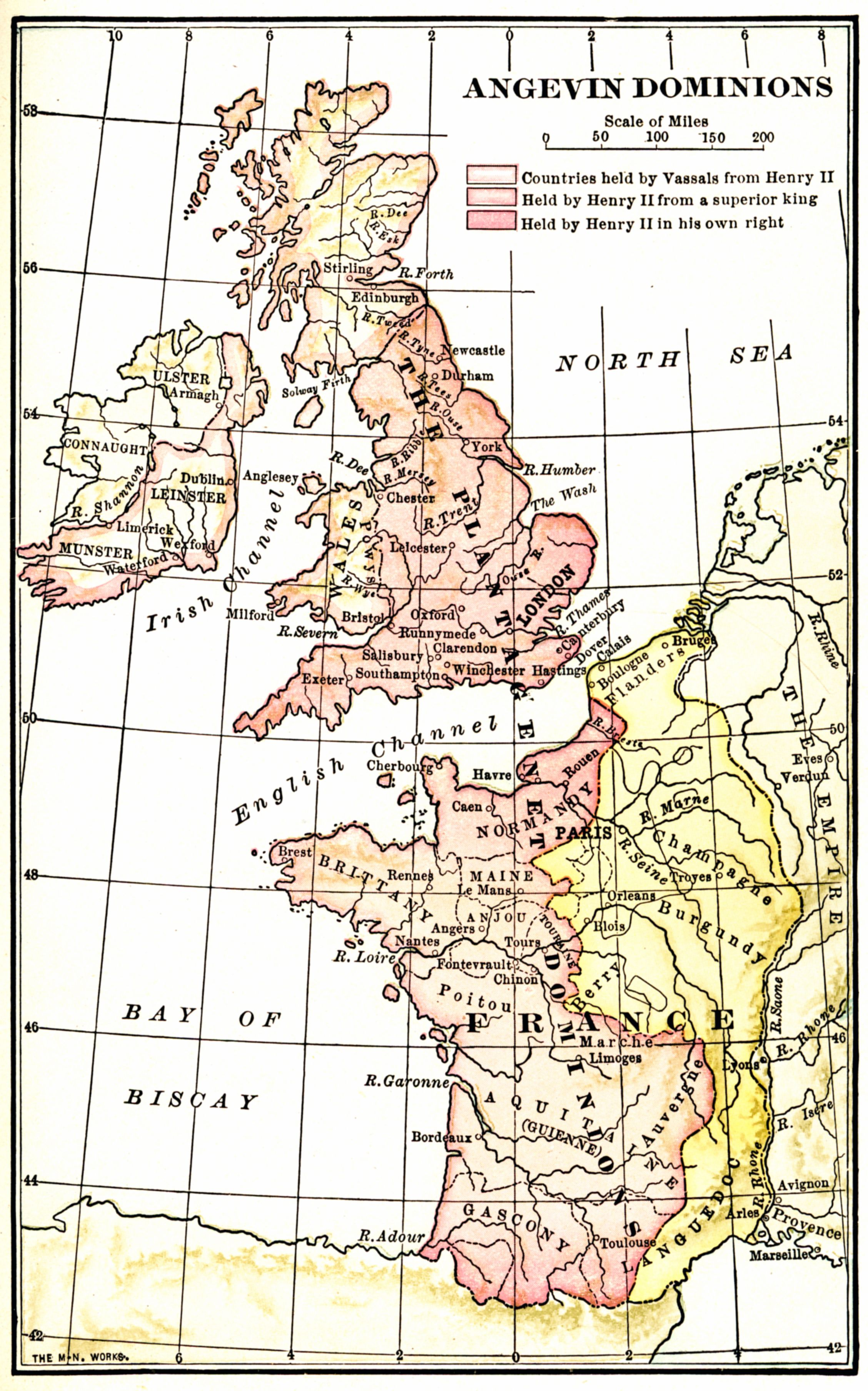 Map Of France England And Scotland.The Angevin Dominions 1250 England France Ireland Scotland