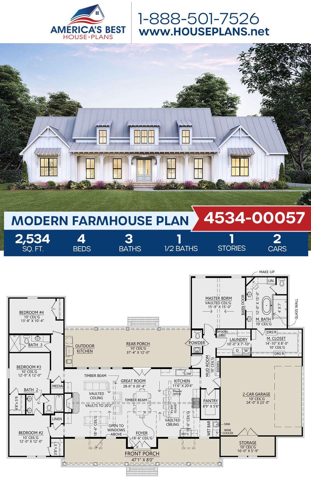 House Plan 4534 00057 Modern Farmhouse Plan 2 534 Square Feet 4 Bedrooms 3 5 Bathrooms In 2021 Modern Farmhouse Plans Open Floor Plan Farmhouse House Plans Farmhouse