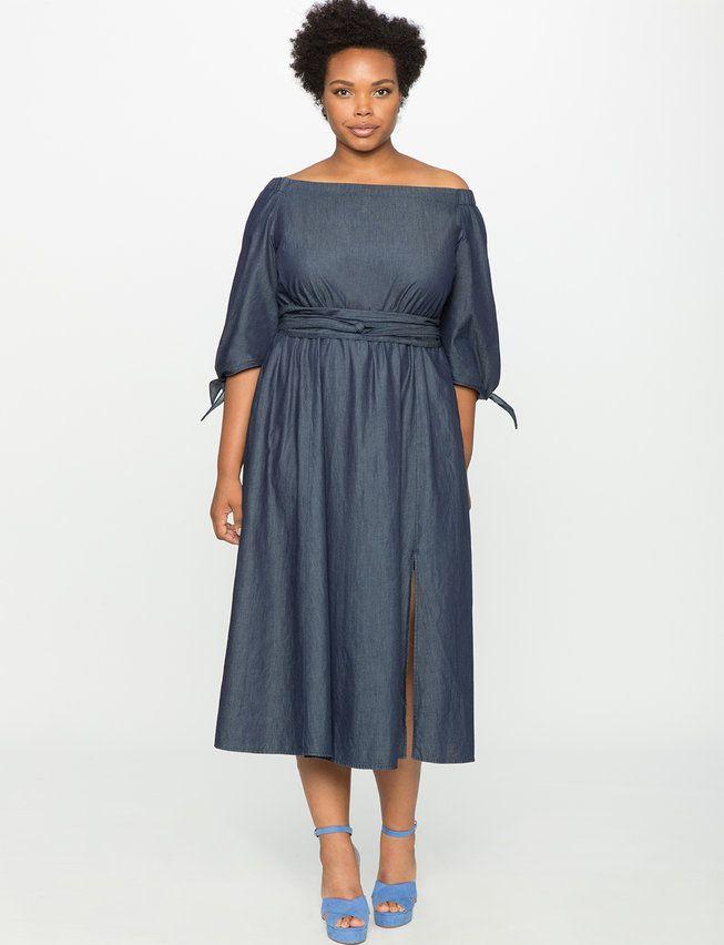 Studio Off The Shoulder Chambray Dress Womens Plus Size Dresses