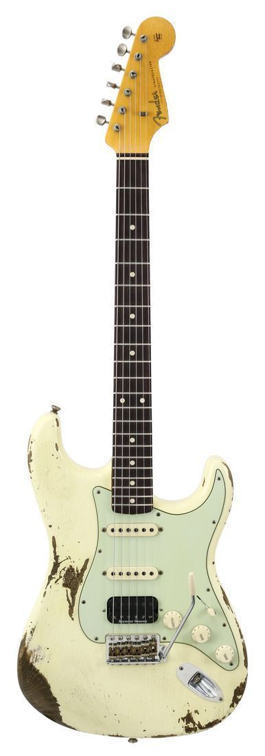 Fender Custom Shop 1962 Stratocaster HSS Heavy Relic Vintage White   Rainbow Guitars