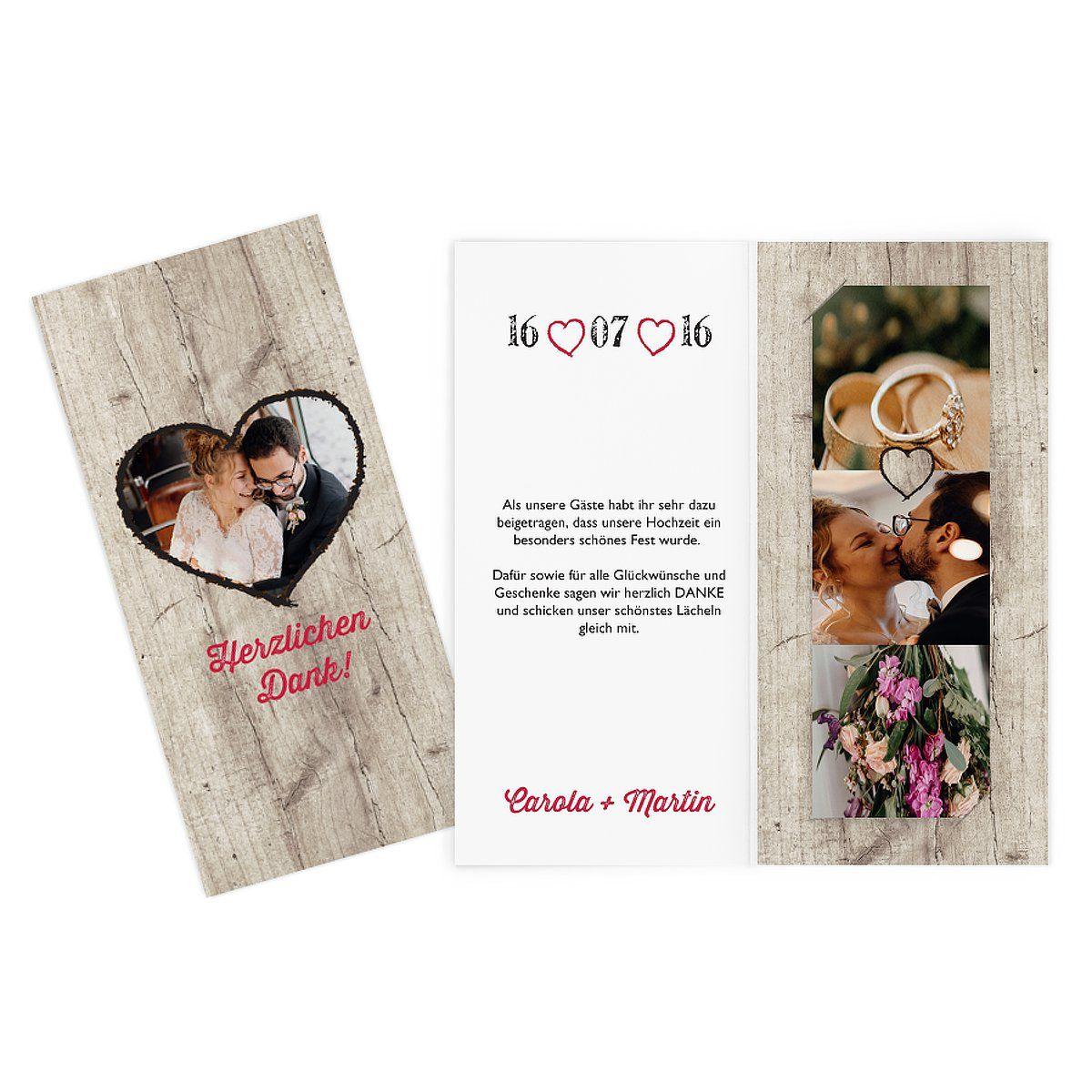 """Dankeskarte Hochzeit """"Wooden Love"""""""