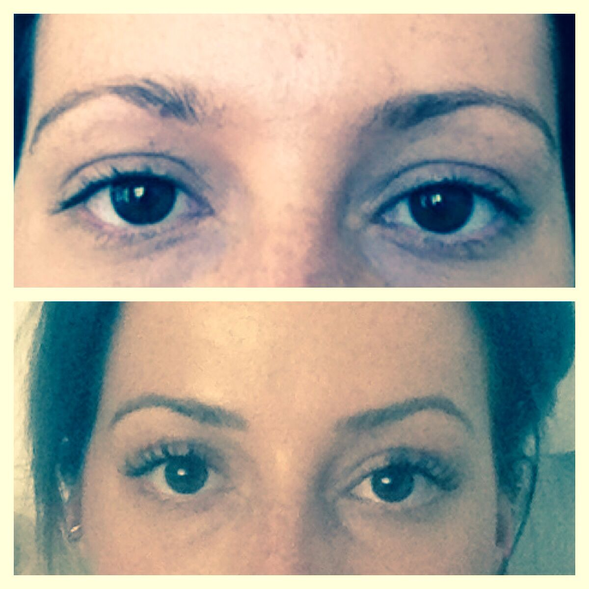 Before and after eyebrow tattoo also with eyelash