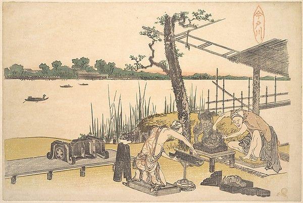 Imadogawa Artist: Katsushika Hokusai (Japanese, Tokyo (Edo) 1760–1849 Tokyo (Edo)) Period: Edo period (1615–1868) Date: ca. 1801–4 Culture: Japan Medium: Polychrome woodblock print; ink and color on paper