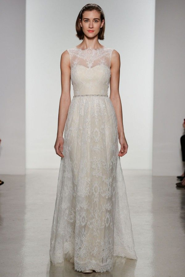 Pretty vintage lace Christos wedding gown with lace illusion neckline