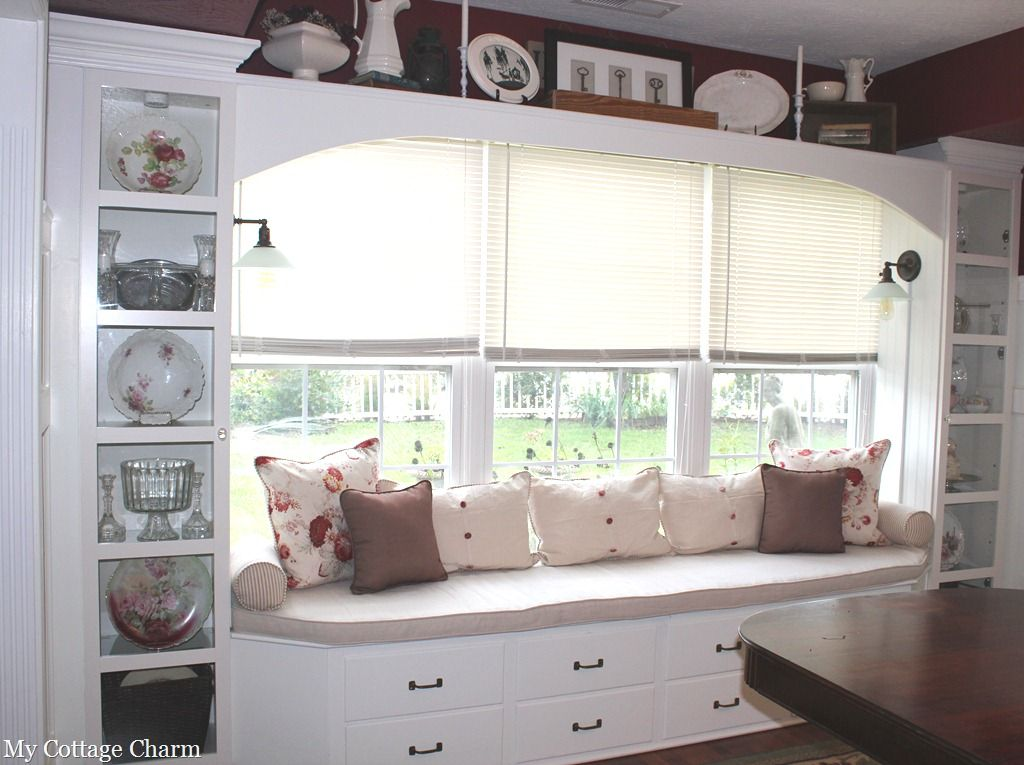 Another view of the window seat bench made from old