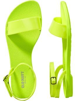 783d1cf6a6 Womens Ankle-Strap Sandals. Neon/Acid yellow and green are my new favorite  colors. These are calling for deep purple nail polish.