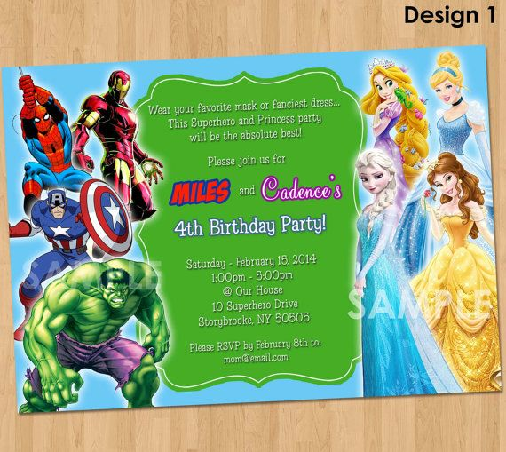 Double Party Invitation Superheroes and Princesses Printable – Invite a Princess to Your Party