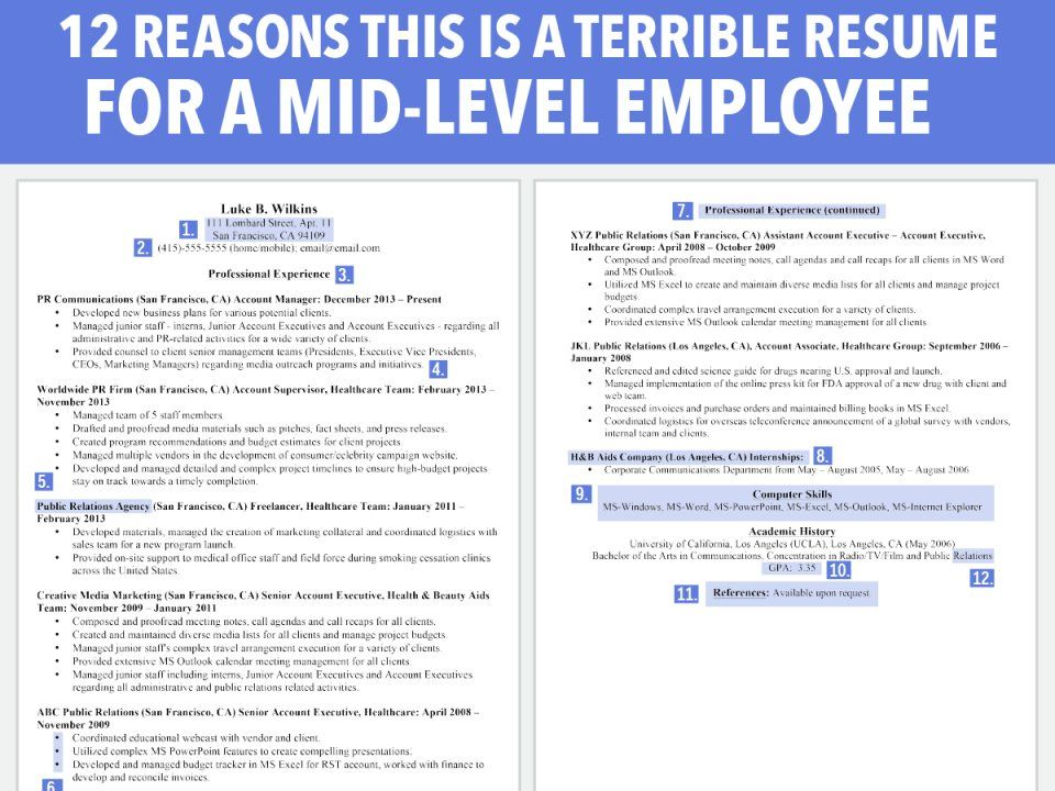 12 reasons this is a horrible resume for a mid-level employee - mid level resume sample