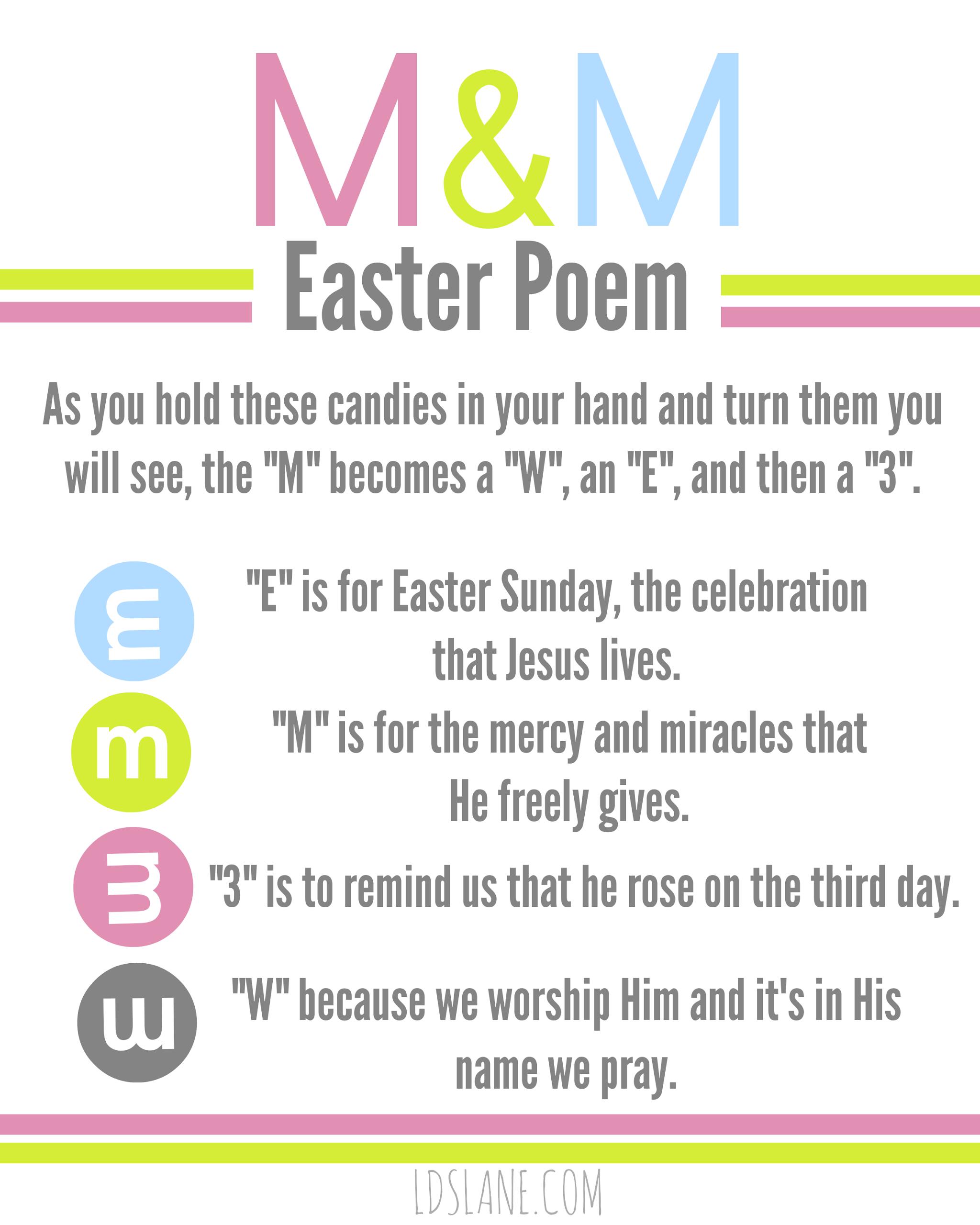 M Amp M Easter Poem