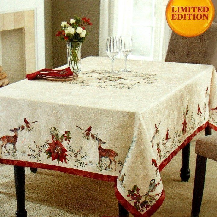 Better Homes Gardens Heritage Tablecloth 60 X 84 Christmas Winter Deer Tablecloths For Sale Table Cloth Christmas Table Cloth