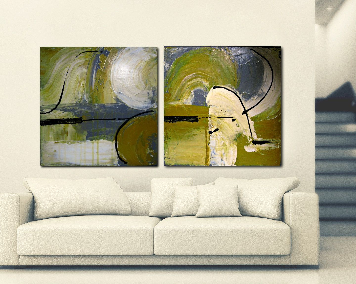 Urban Abstract Art, Original Painting, Two Paintings, Yellow White ...