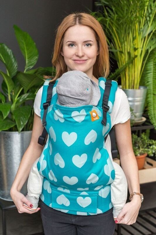d64afcf4e76 Bright blue hearts baby carrier. Full Standard Wrap Conversion Carrier -  Love Sprinkle