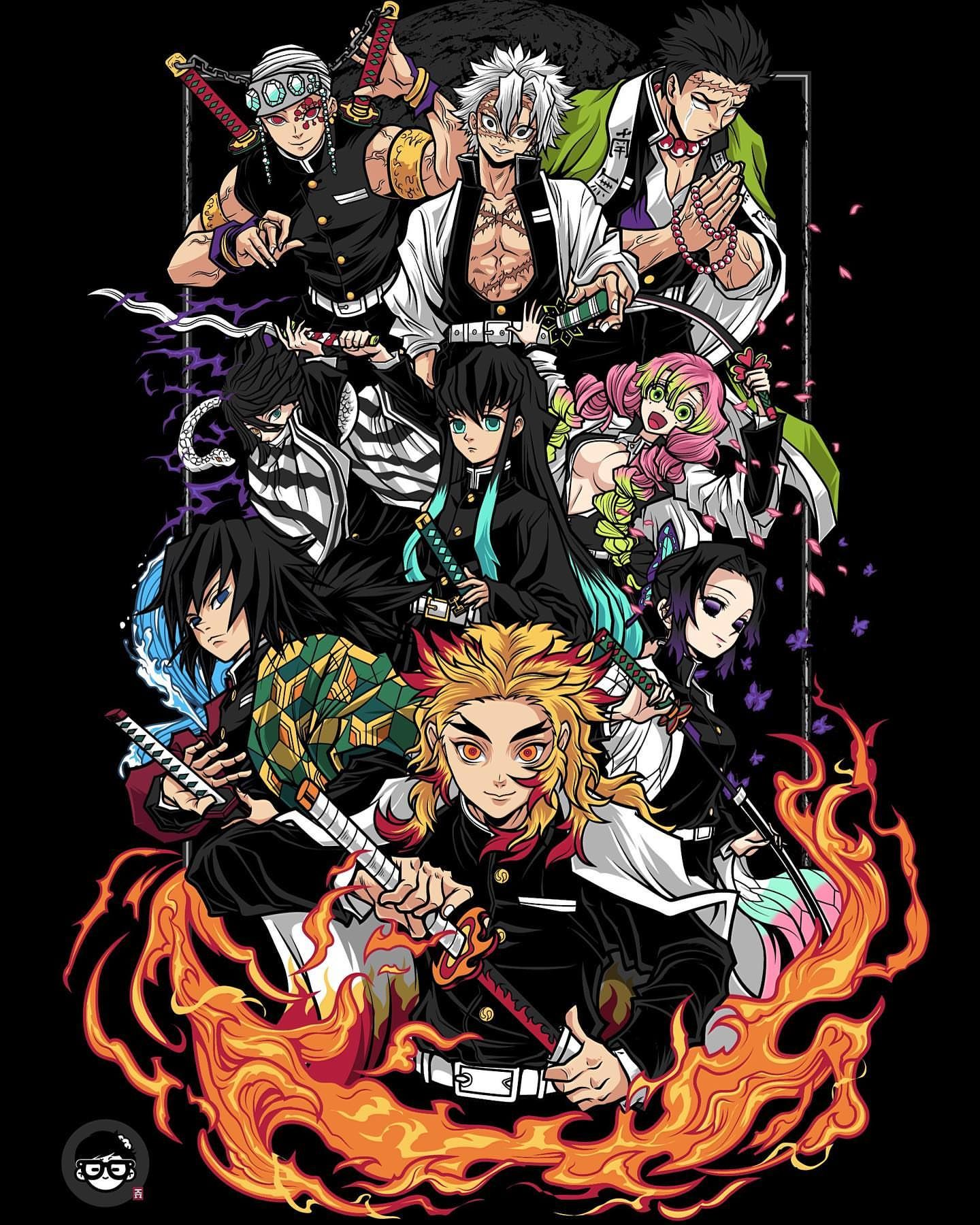 The Pillars Kimetsu No Yaiba Anime Anime Wallpaper Anime Art Rengoku laughs while mitsuri giggles. the pillars kimetsu no yaiba anime