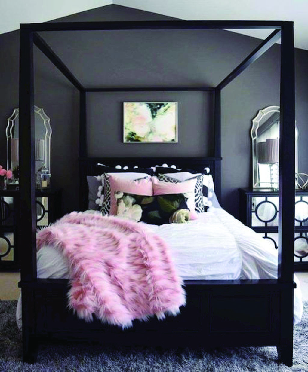 4 Measures To Creating The Utmost Black And White Bedroom Homes Tre Pink Bedroom Decor Pink Bedrooms Grey Bedroom With Pop Of Color