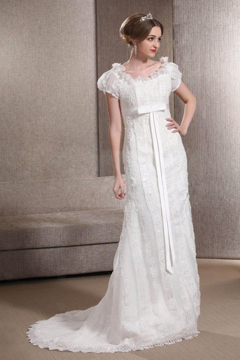 High waist scoop neck short sleeve bow court train wedding dress