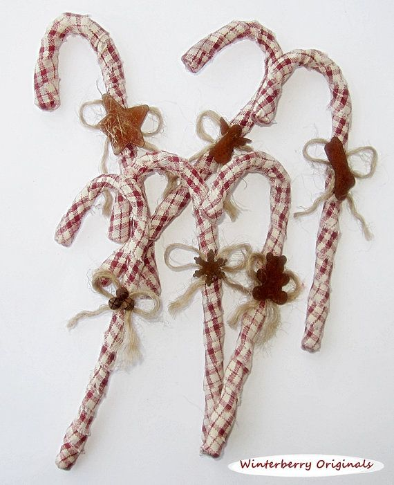 Homespun Candy Canes with Rusty Tin Embellishments - Set of 6 - Cream and Burgundy Homespun - Tree Decoration - Package Tie-On - Table Decor
