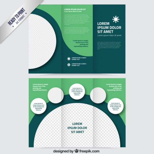 Green Brochure With Circles Free Vector  Free Trifold