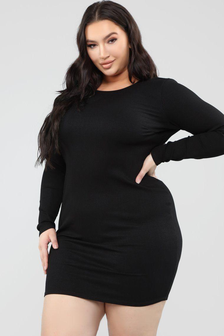 Taking Back The Night Ribbed Mini Dress Black in 2020
