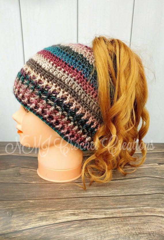 Ponytail hat, messy bun hat, crochet hat | Sequenzer, erwachsene ...