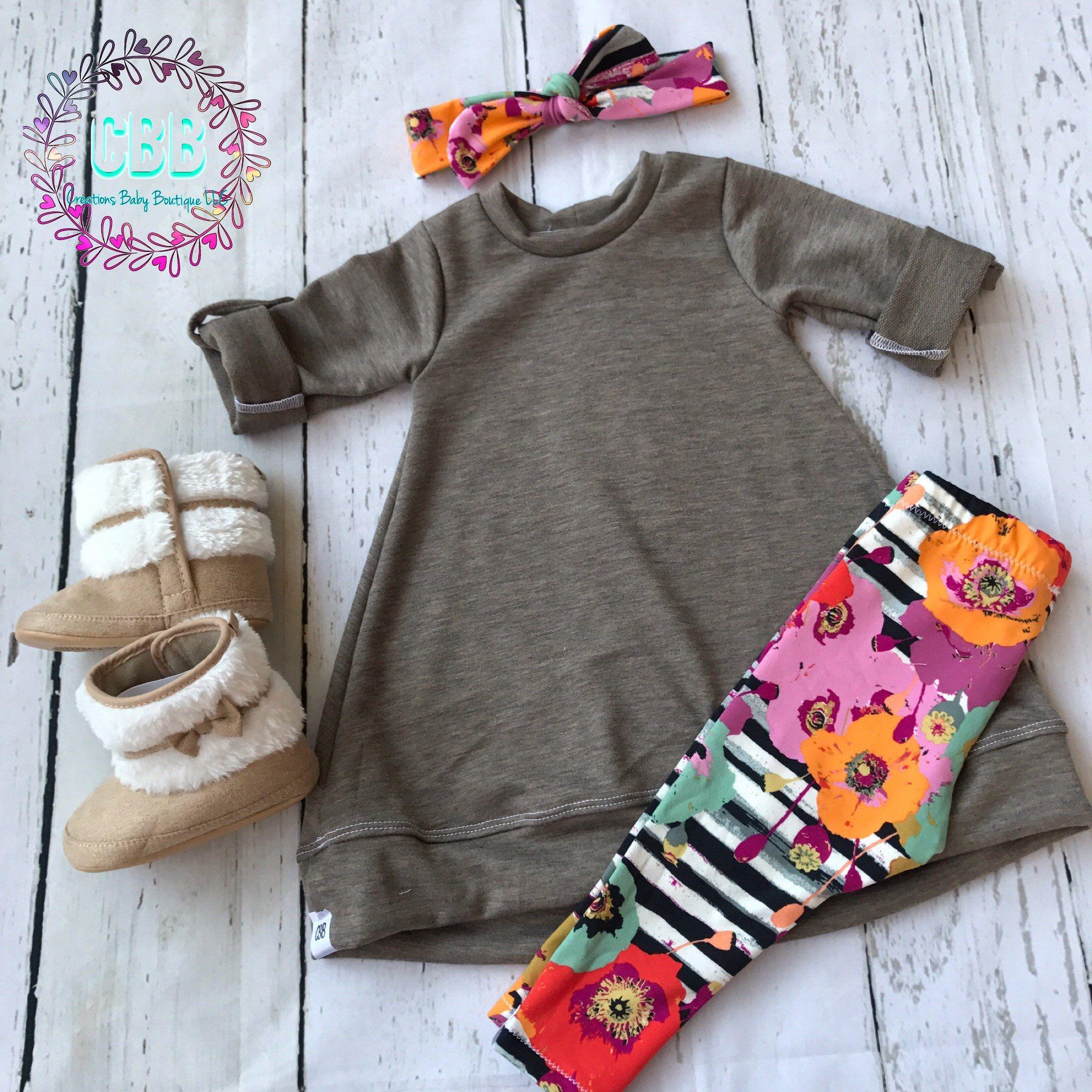 Baby girl tunic sweatshirt sweater dress leggings and headband
