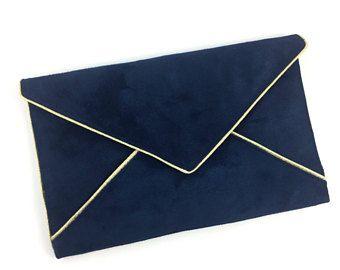 sac pochette de soir e bleu marine en su dine et passepoil. Black Bedroom Furniture Sets. Home Design Ideas