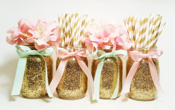 Mason Jars Centerpieces Pink And Gold Wedding Party By LimeAndCo