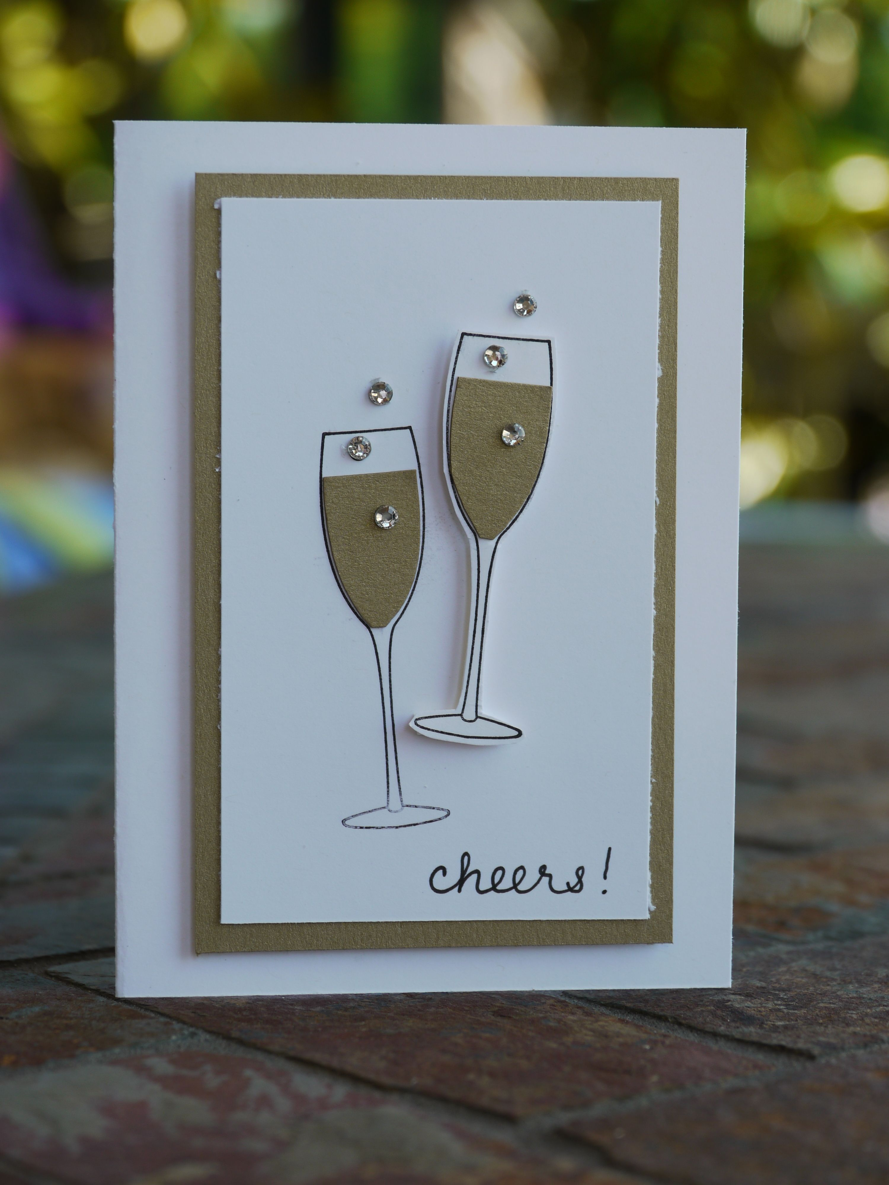Cheers Champagne Card Embellished Events Cricut Anniversary Card Handmade Birthday Cards Cheers Card