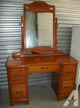 vintage vanity dresser with mirror. Antique Estate 1960 s Maple Vanity Dresser with Mirror VERY GOOD COND